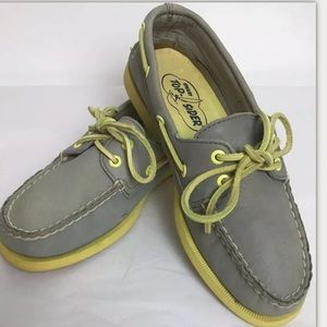 SPERRY TOP SIDERS Classic Gray Yellow Slip On Boat
